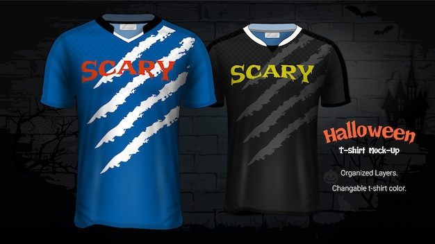 Halloween costume t-shirts mockup template