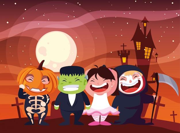 Halloween costumed children