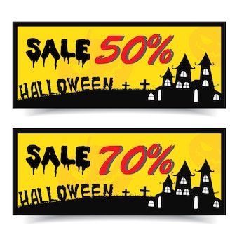 Halloween coupon vector illustration.