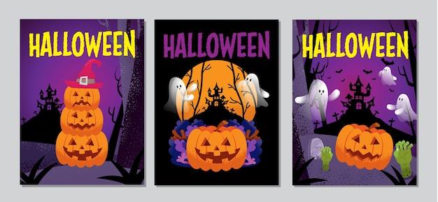 ハロウィーンのカバー、バナー、幽霊、怖い、不気味な、漫画のキャラクター、テンプレートベクトルイラスト。