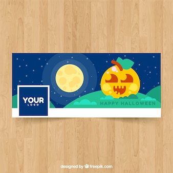 Halloween cover with pretty pumpkin in flat design