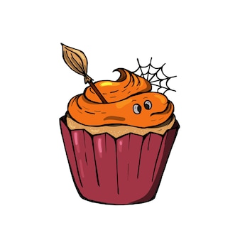 Halloween cream cupcake with spider webs and broom. a cute scary dessert perfect for party invitations.