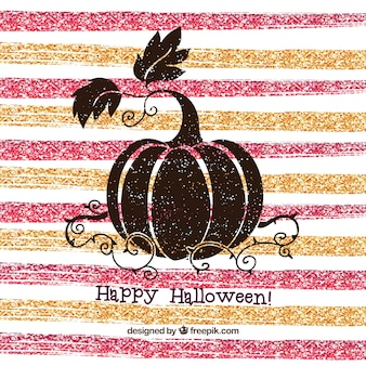 Halloween creative background of striped glitter and pumpkin