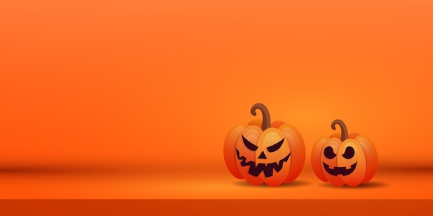 Halloween creative banner with two orange scary pumpkins on purple background. place for text.