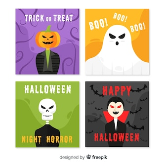 Halloween creatures on flat card collection