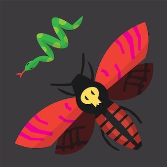 赤と黒の翼と背中と緑のヘビの頭蓋骨を持つハロウィーンの生き物の蛾ベクトル画像