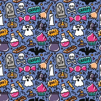 Halloween creepy doodle element seamless pattern