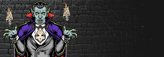 거미줄과 촛불 어두운 벽 배경에 뱀파이어와 할로윈 소름 가로 빈티지 배너