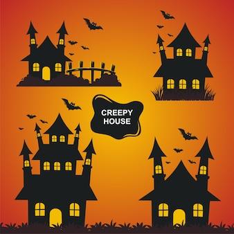 Halloween creepy house illustration set