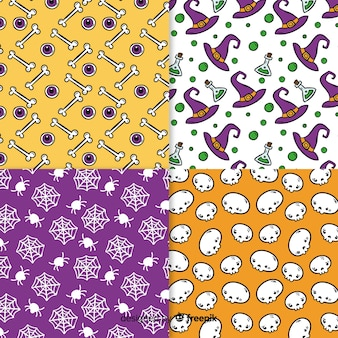 Halloween creepy pattern hand drawn