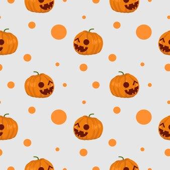Halloween creepy pumpkin and web spider seamless pattern