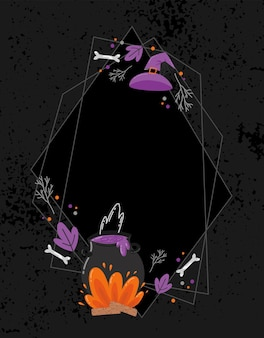 Halloween creepy vector frame. hand-drawn decoration witch's bowl, bones and magic
