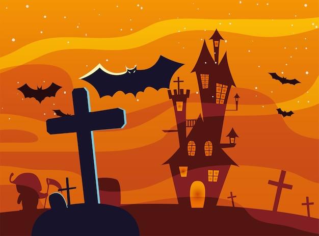 Хэллоуин крест могила перед дизайном замка, праздник и страшная тема