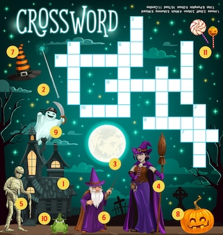 Halloween crossword grid puzzle game for kids
