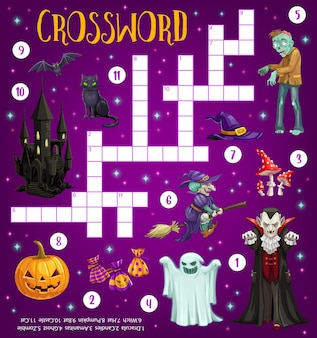 Halloween crossword grid puzzle game with monsters