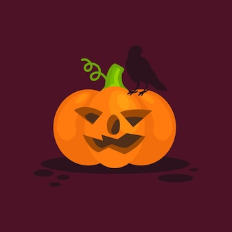 Halloween and crow on pumpkin