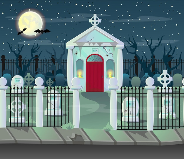 Halloween  crypt. background for games and mobile applications by layers