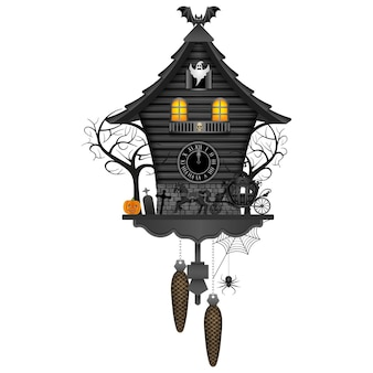 Halloween cuckoo clock with old carriage pumpkin trees bat and ghost