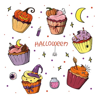 Halloween cupcake set. cute scary desserts, perfect for party invitations