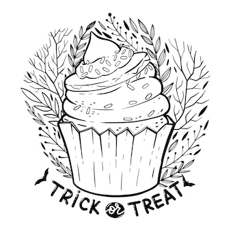 Halloween cupcake with cream, witch hat, lettering phrase: trick or treat and decorated florals elements.