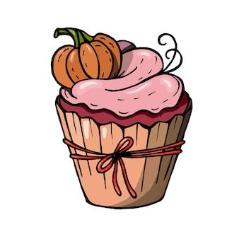 호박과 핑크 크림 할로윈 컵 케 익입니다. 파티 초대장에 딱 맞는 귀여운 무서운 디저트.