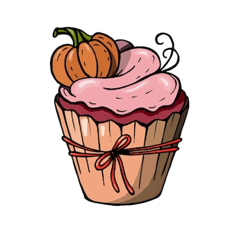 Halloween cupcake with pumpkin and pink cream. a cute scary dessert perfect for party invitations.