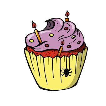 보라색 크림과 촛불 할로윈 컵 케 익입니다. 파티 초대장에 딱 맞는 귀여운 무서운 디저트.