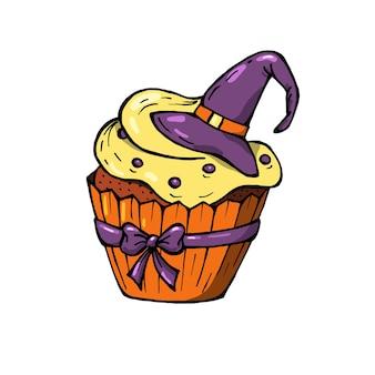 노란색 크림과 보라색 모자와 활 할로윈 컵 케 익. 파티 초대장에 딱 맞는 귀여운 무서운 디저트.
