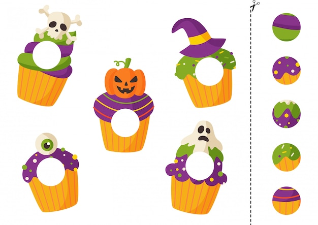 子供のためのハロウィーンのカップケーキカットアンドグルーゲーム。