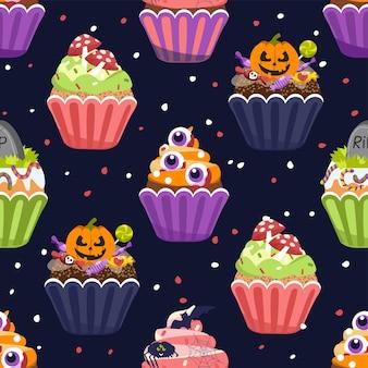 Halloween cupcakes, seamless pattern