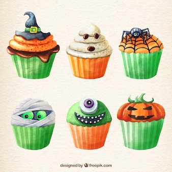 Halloween cupcakes in watercolor style