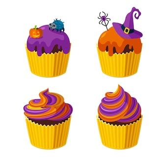 거미, 마녀 모자, 나선형 설탕을 입힌 할로윈 컵케이크. 할로윈 파티를 위한 디저트