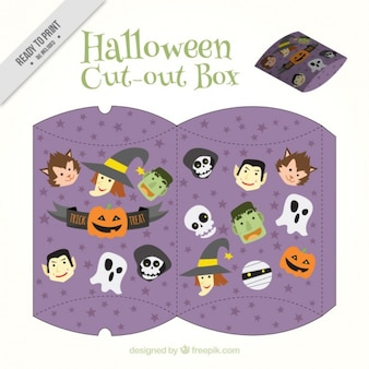 Halloween cut out cute box with characters