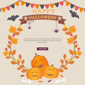 Halloween cute background with autumn leaves
