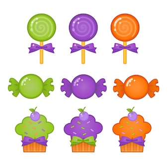 Halloween cute candy and cupcakes