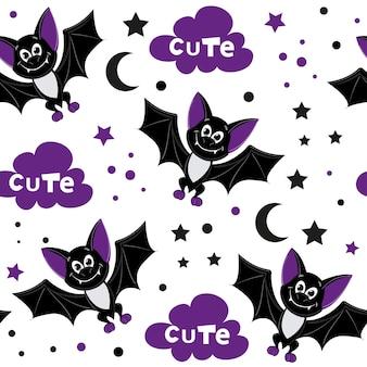 할로윈 귀여운 만화 박쥐 완벽 한 패턴입니다. 어린이를 위해 고립 된 벡터 일러스트 레이 션