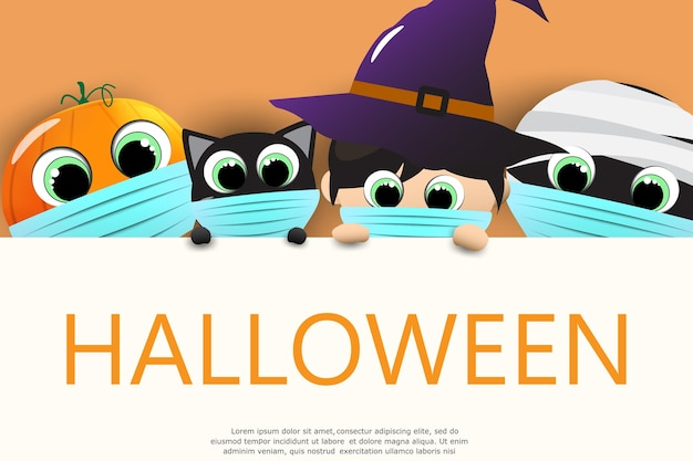 Halloween cute cartoon caracters for greeting card.
