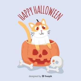 Halloween carino gatto sfondo in design piatto