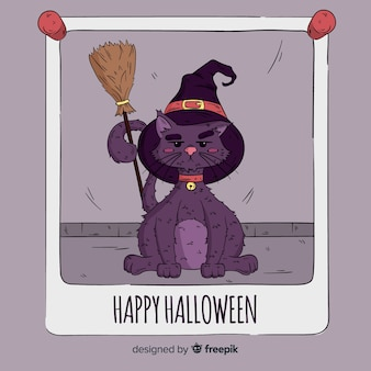 Halloween cute cat background in hand drawn style