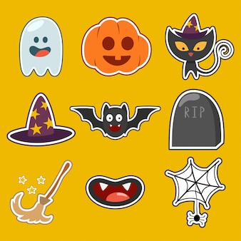 Halloween cute characters and icons set isolated .