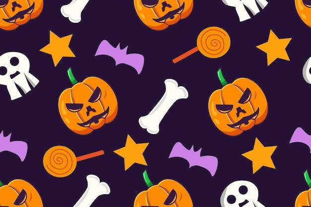 ハロウィンかわいい落書きスタイルのシームレスなパターン