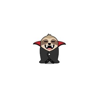Halloween cute dracula sloth cartoon character