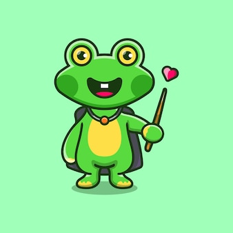 Halloween cute frog wizard with hat, cloak, love, and wand