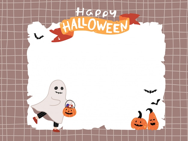 Halloween cute ghost with pumpkins on template