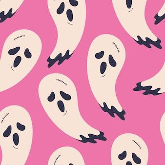 할로윈 귀여운 유령 완벽 한 패턴입니다. 화난 얼굴이 인쇄된 으스스한 캐릭터. 낙서 플랫 만화 스타일의 소름 끼치는 벡터 반복 벽지. 무서운 휴가, 섬유, 종이 또는 카드를 위한 분홍색 배경
