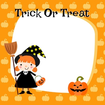 Halloween cute little witch background.
