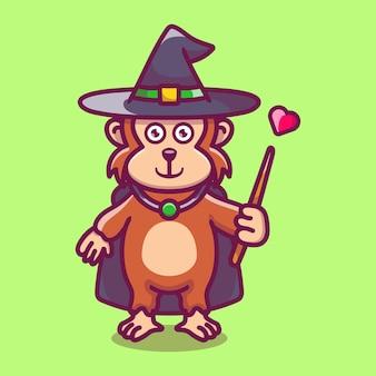 모자, 망토, 사랑, 지팡이와 할로윈 귀여운 원숭이 마법사