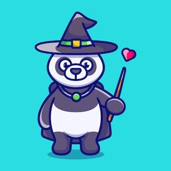 帽子のマントの愛と杖でハロウィーンのかわいいパンダの魔法使い