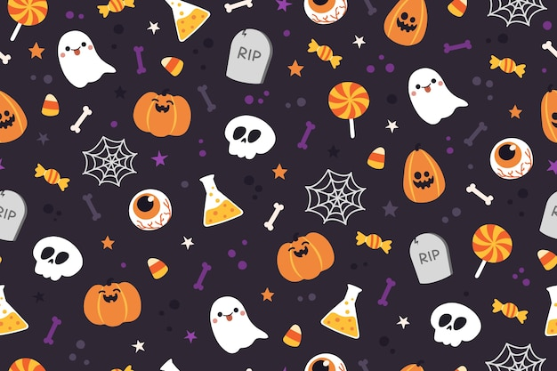 Halloween cute pattern background.