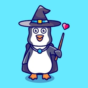 帽子のマントの愛と杖でハロウィーンのかわいいペンギンの魔法使い